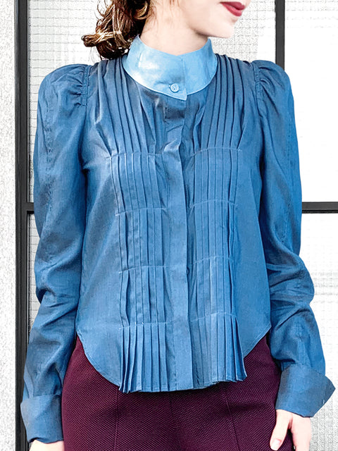 Dark Denim Pleat Front Puff Sleeve Button-Up Tencel Blend Shirt