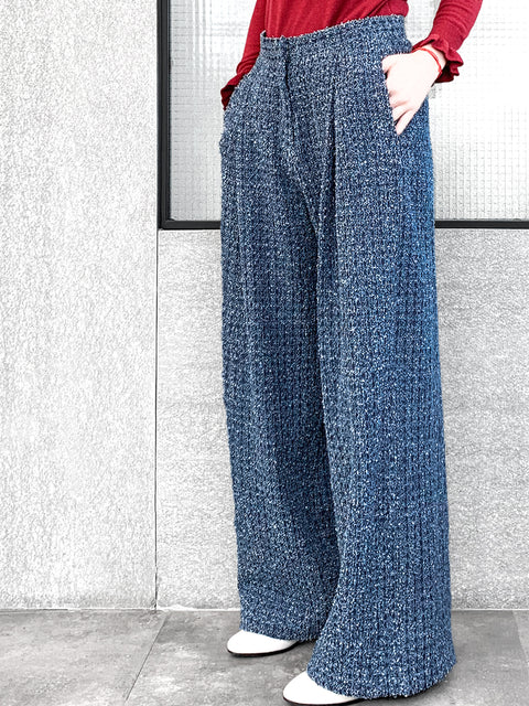 Washed Texture Pattern Denim Wide Leg Trousers
