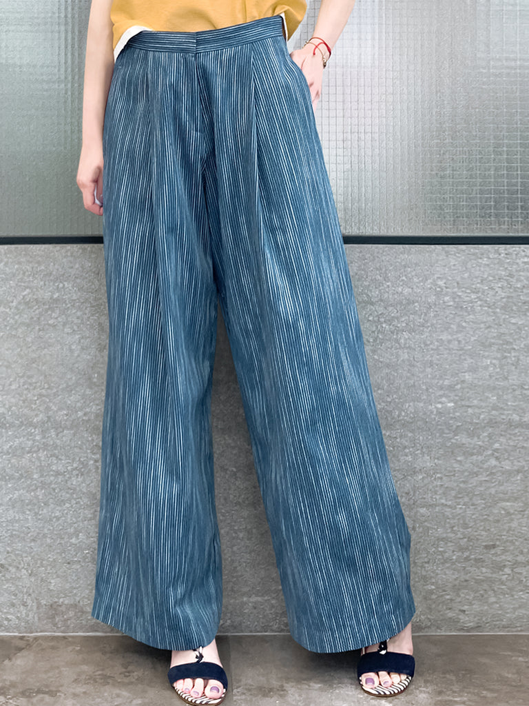 Last Chance! Dark Steel Blue Pinstripe Cotton-Blend Wide Leg Trousers