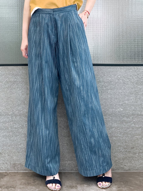 Dark Steel Blue Pinstripe Cotton-Blend Wide Leg Trousers