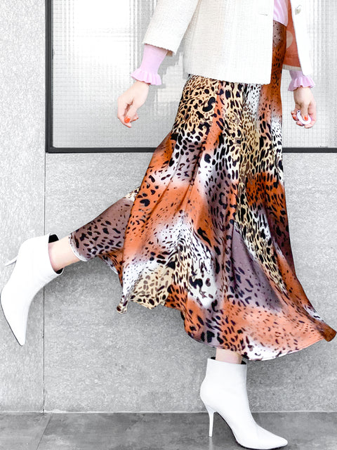 Animal Print Luminous Silk A-Line Midi Skirt