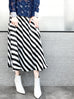 Surprise Sale! Stripe Print Luminous Silk A-Line Midi Skirt