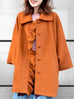 Surprise Sale! Fresh Tangerine Dolman Sleeve Cashmere Wool Blend Ruffle Coat