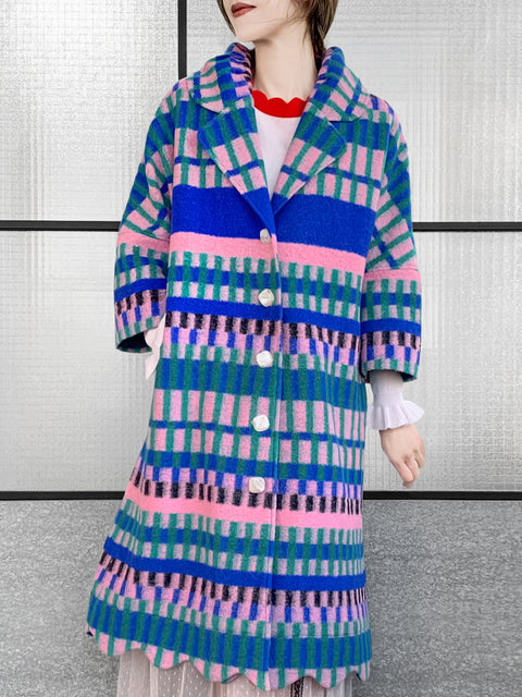 Multihued Stripes Scalloped Hem Three-Quarter Coat