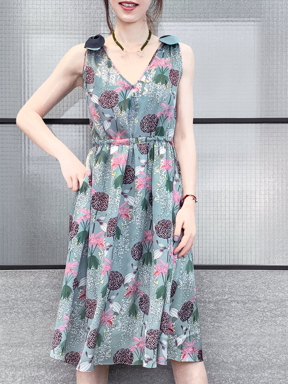 Satiny Floral Print Sleeveless Tie Back A-Line Dress