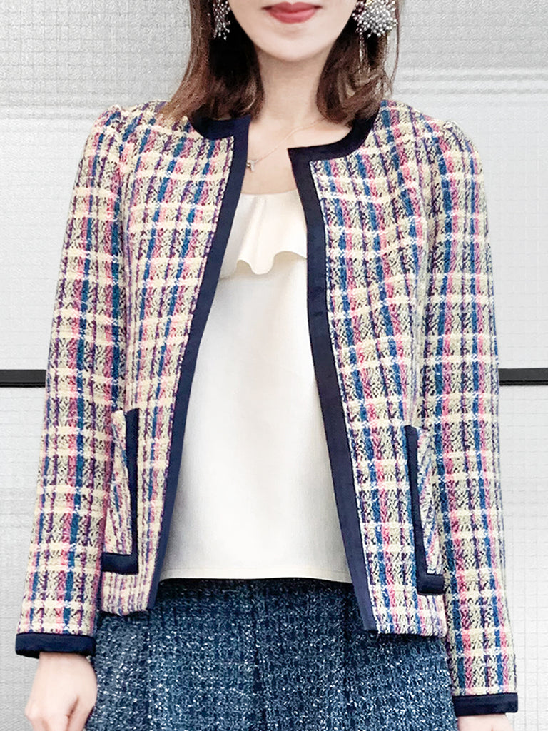 Surprise Sale! Plaid Tweed Jacket with Satin Trim and Patch Pockets
