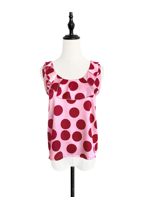 Pinky Playful Polka Dot Ruffle Neck Silk Tank