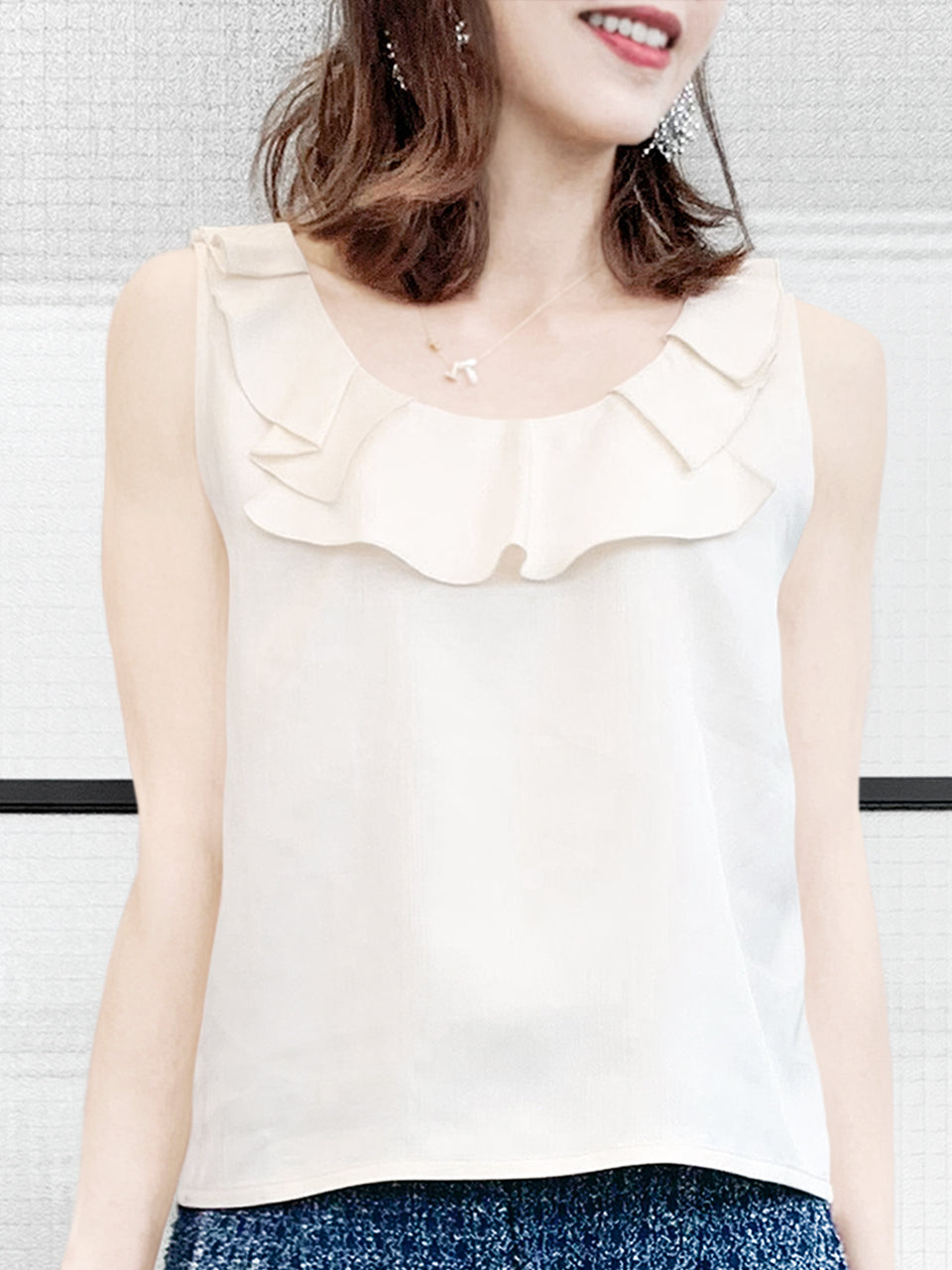 Ivory White Textured Ruffle Neck Silk Tank