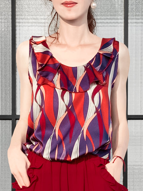 Purple-Red Wavy Print Ruffle Neck Silk Tank