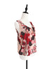 Last Chance! Red Shades Boldly Floral Ruffle Neck Silk Tank