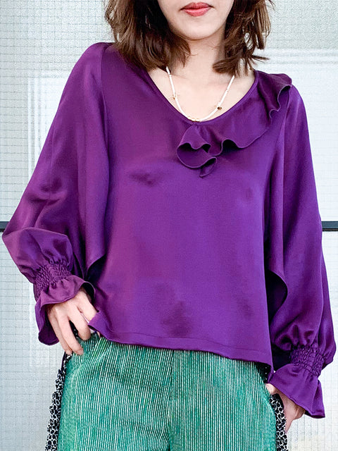 Violet Purple Slit Sleeve Satin Silky Ruffle Blouse