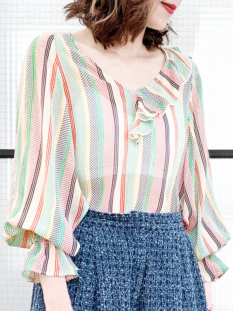 Mixed Stripy-Dots Slit Sleeve Lightweight Silky Ruffle Blouse