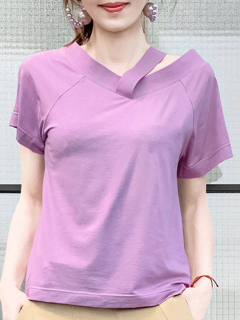 Tender Lavender Asymmetrical Shoulder 2-way Cotton T-Shirt
