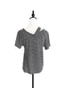 Surprise Sale! Mono Stripe Asymmetrical Shoulder 2-way Cotton T-Shirt