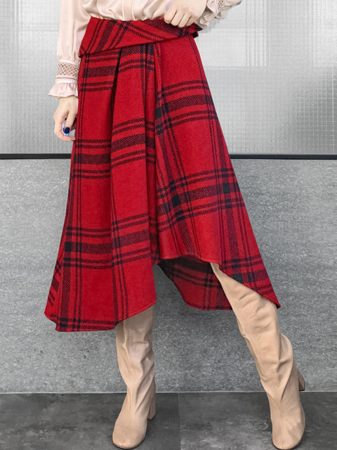Red-black Tartan Roll Top High/Low Flowy Skirt