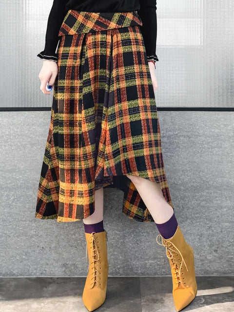 Yellowish Checkered Roll Top High/Low Flowy Skirt