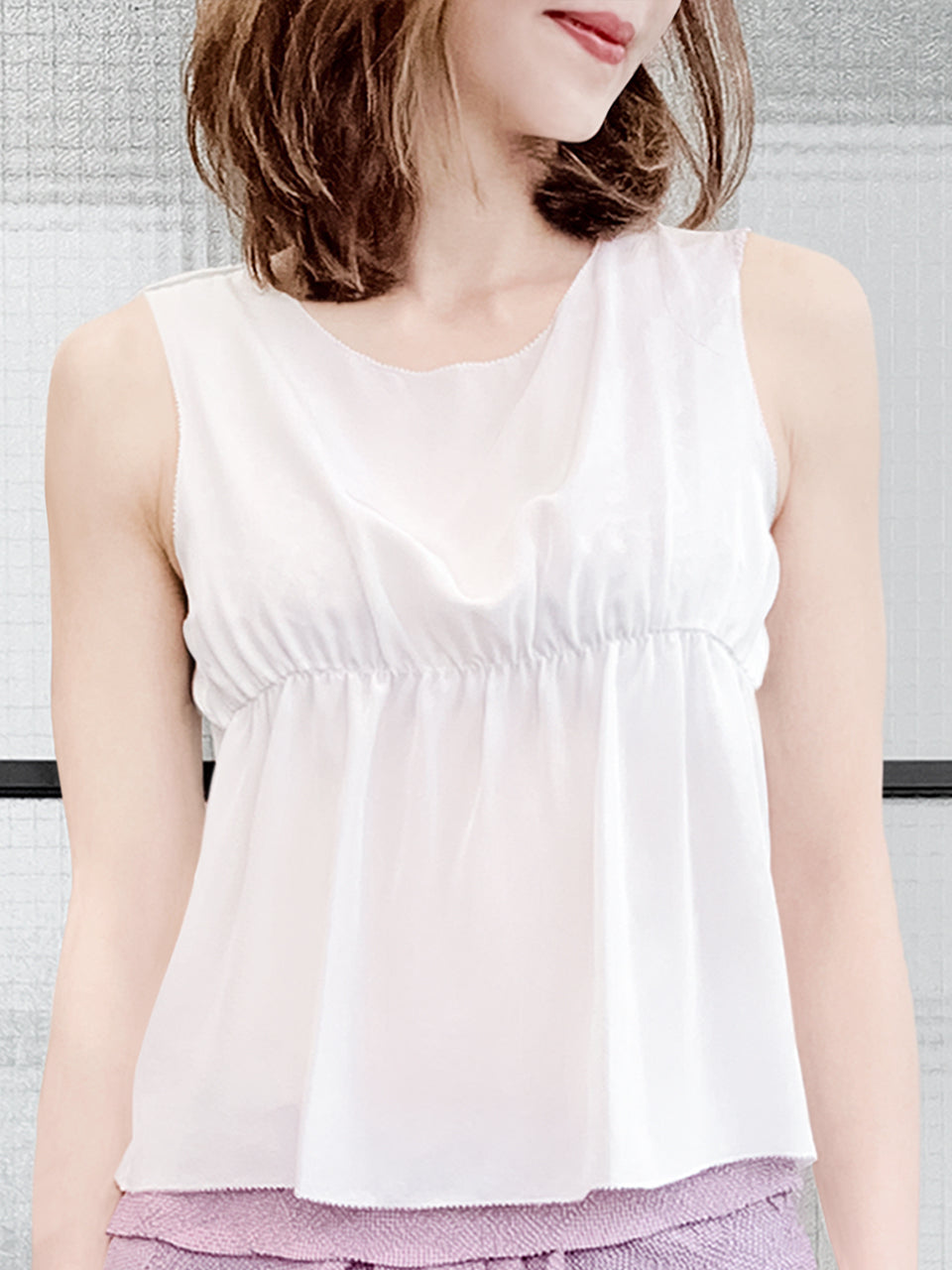 White Stitched Trim Empire Waist Silk Tank