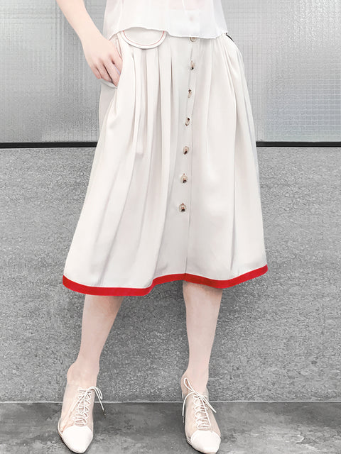 Creamy White Contrast Stitching Front Button A-line Skirt