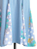 Sky Blue Patchy Print Ruffle Hem Belted Dress