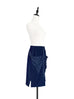 Navy Contrast Trim Patch Drape Pocket Pencil Skirt