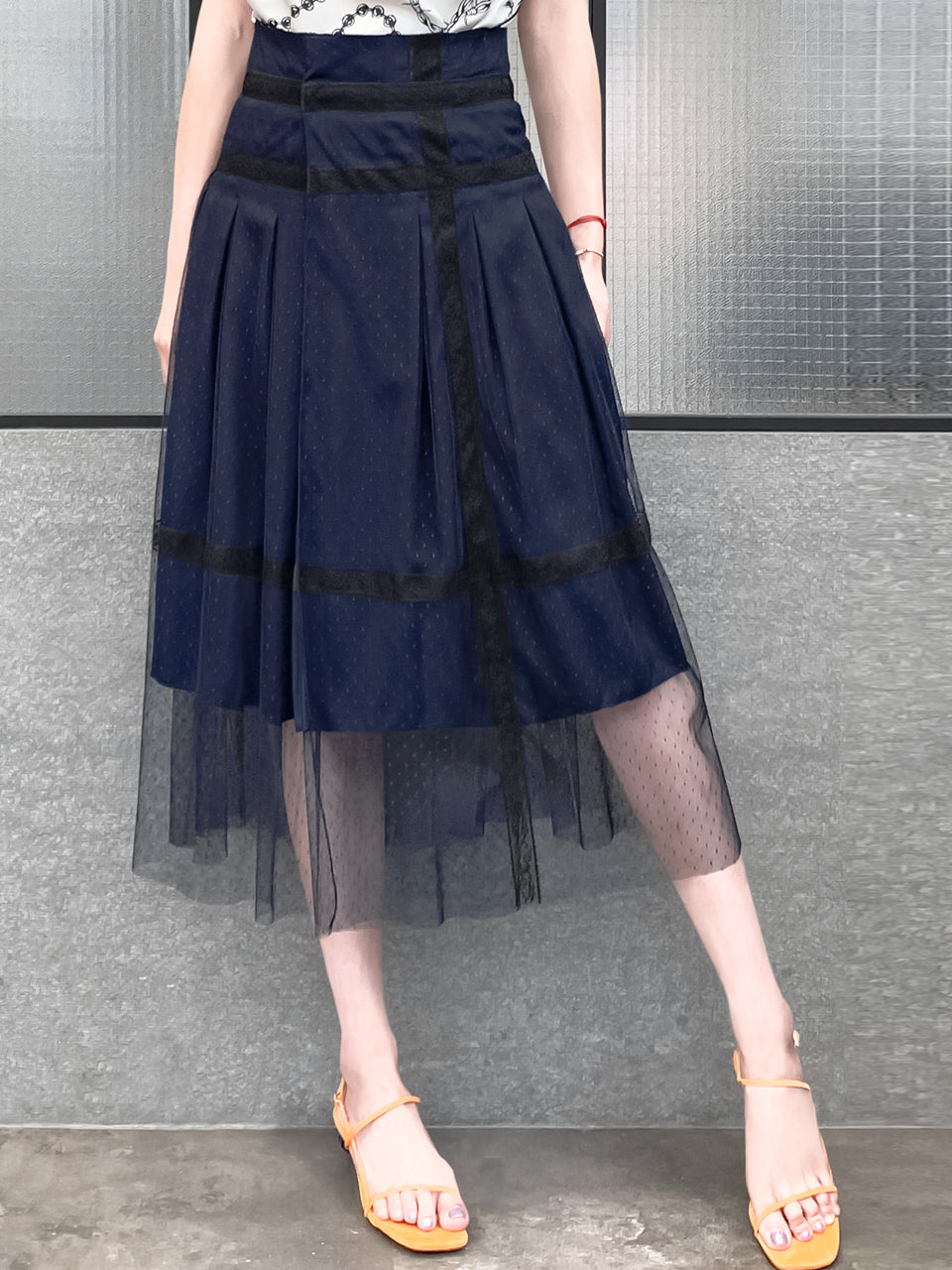 Favourite Navy Lace Trim Tulle Layer Pleated Wrap Skirt