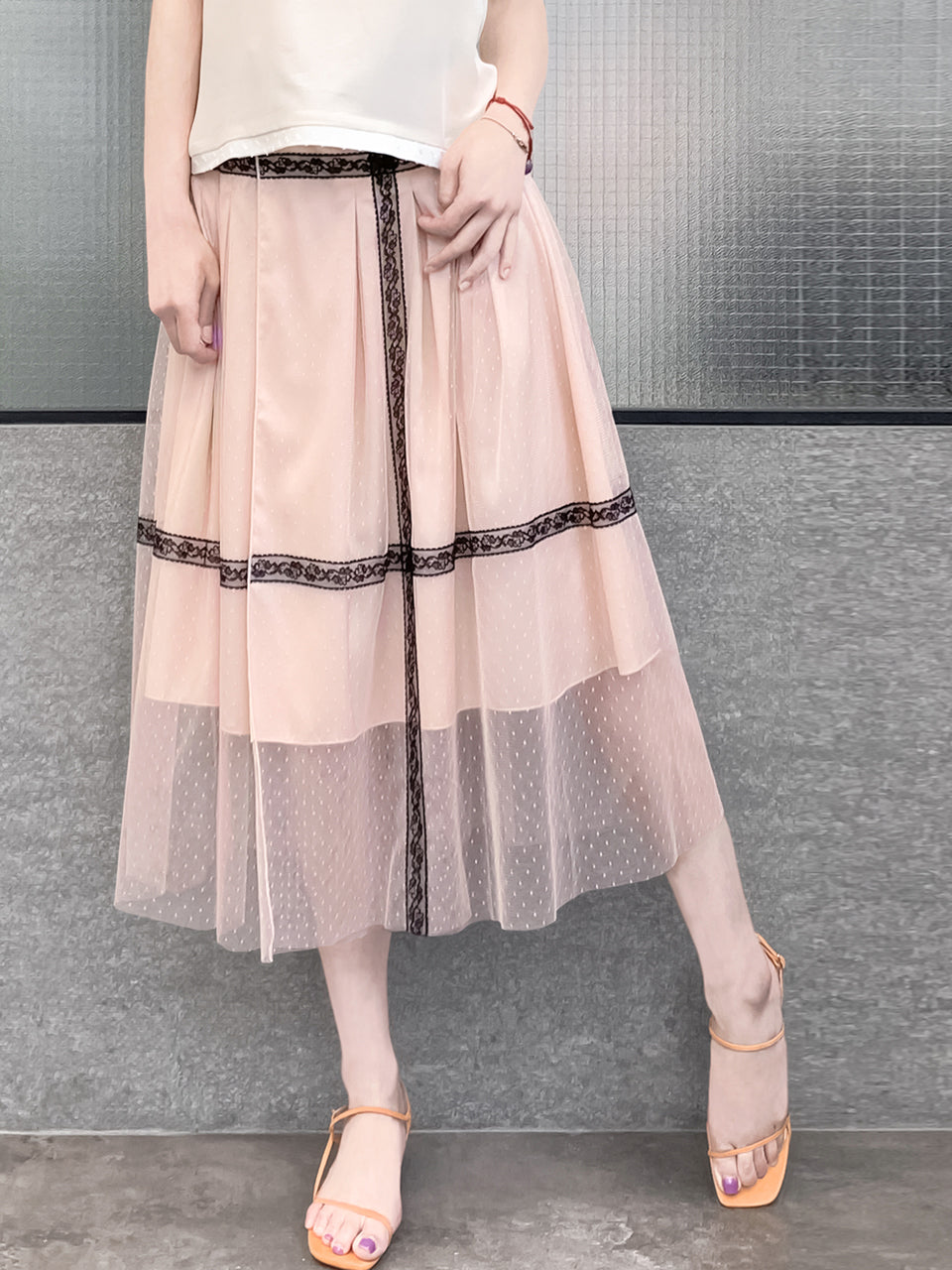 Restock! Blush Pink Lace Trim Tulle Layer Pleated Wrap Skirt
