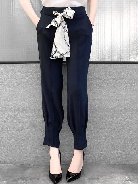 Dark Navy Silky Scarf Tie Seam Detail Pants