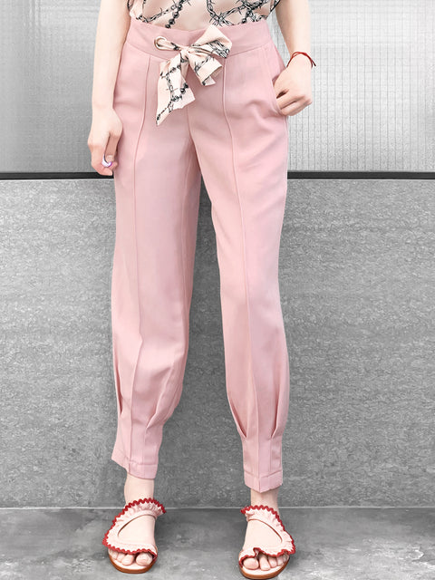 Millennial Pink Silky Scarf Tie Seam Detail Pants