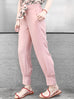 Last Chance! Millennial Pink Silky Scarf Tie Seam Detail Pants