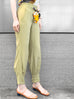 Lively Yellow Silky Scarf Tie Seam Detail Pants