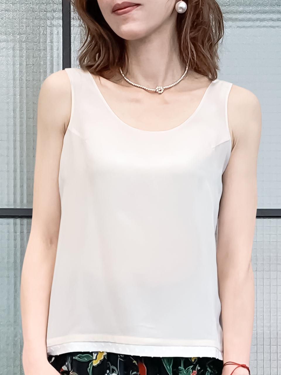 Intimate White Tie Back Sleeveless Silky Blouse