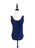 Navy Black Tie Back Sleeveless Silky Blouse