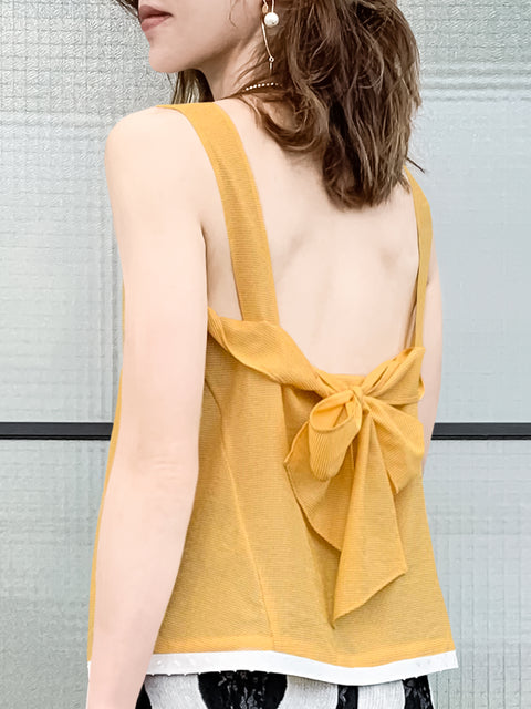 Yellow Mirco-check Tie Back Sleeveless Blouse