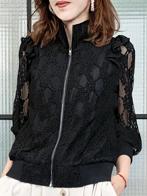 Last Chance! Black Floral Mesh Lace Ruffle Track Jacket