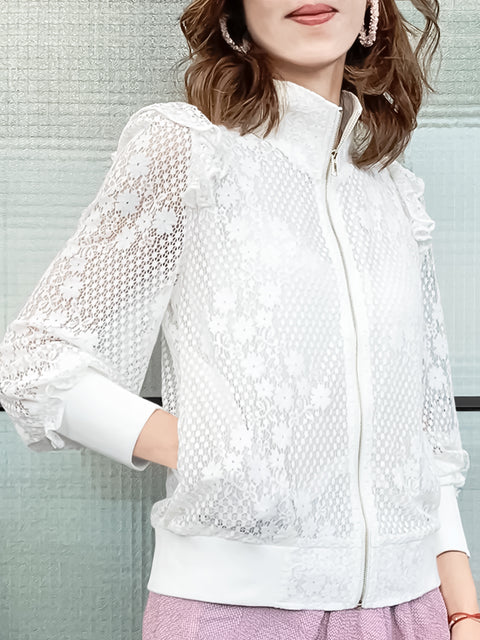 White Floral Dotty Lace Ruffle Track Jacket