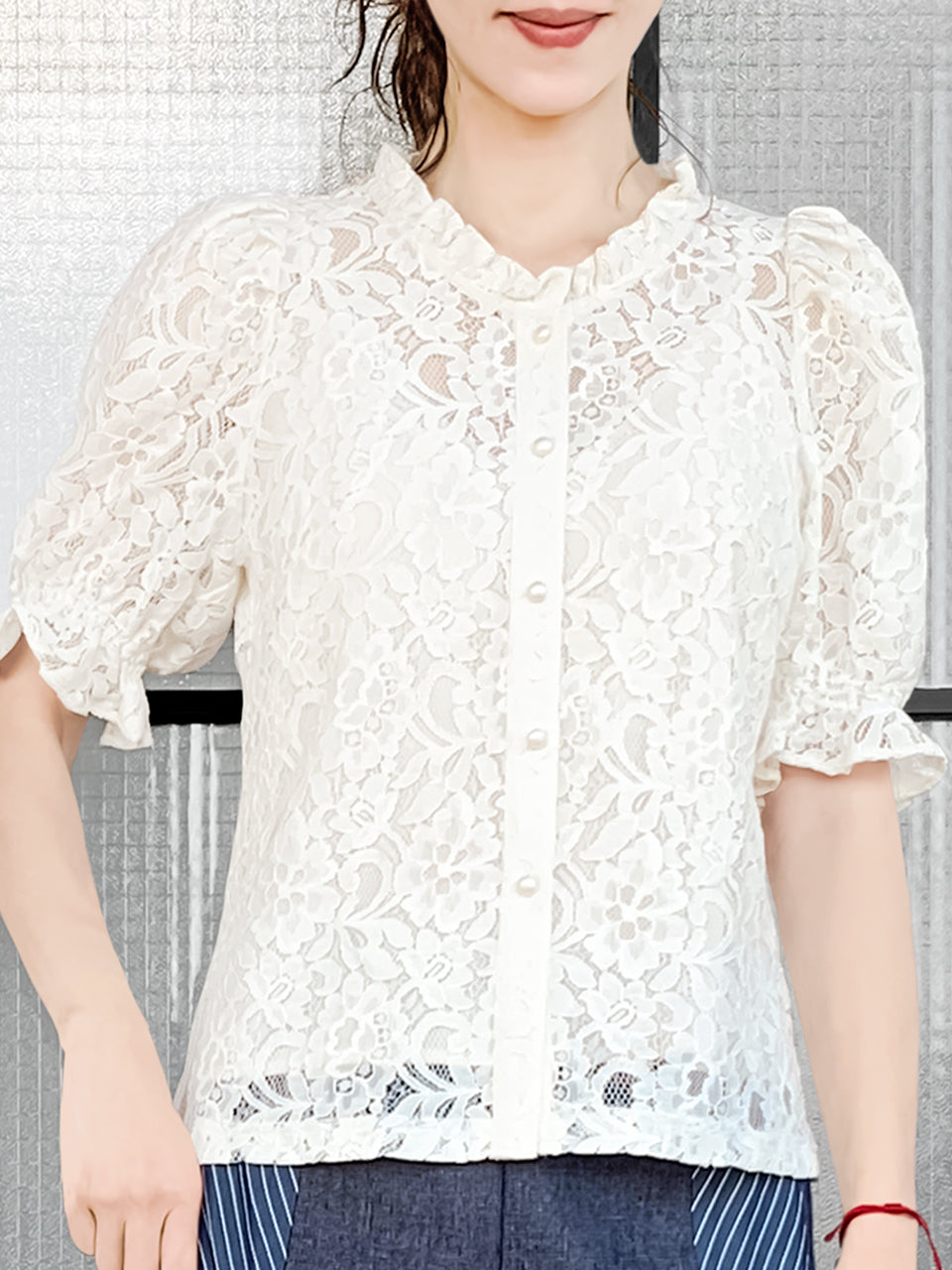 Creamy Ivory Ruffle Trim Puff Sleeve Guipure Lace Top