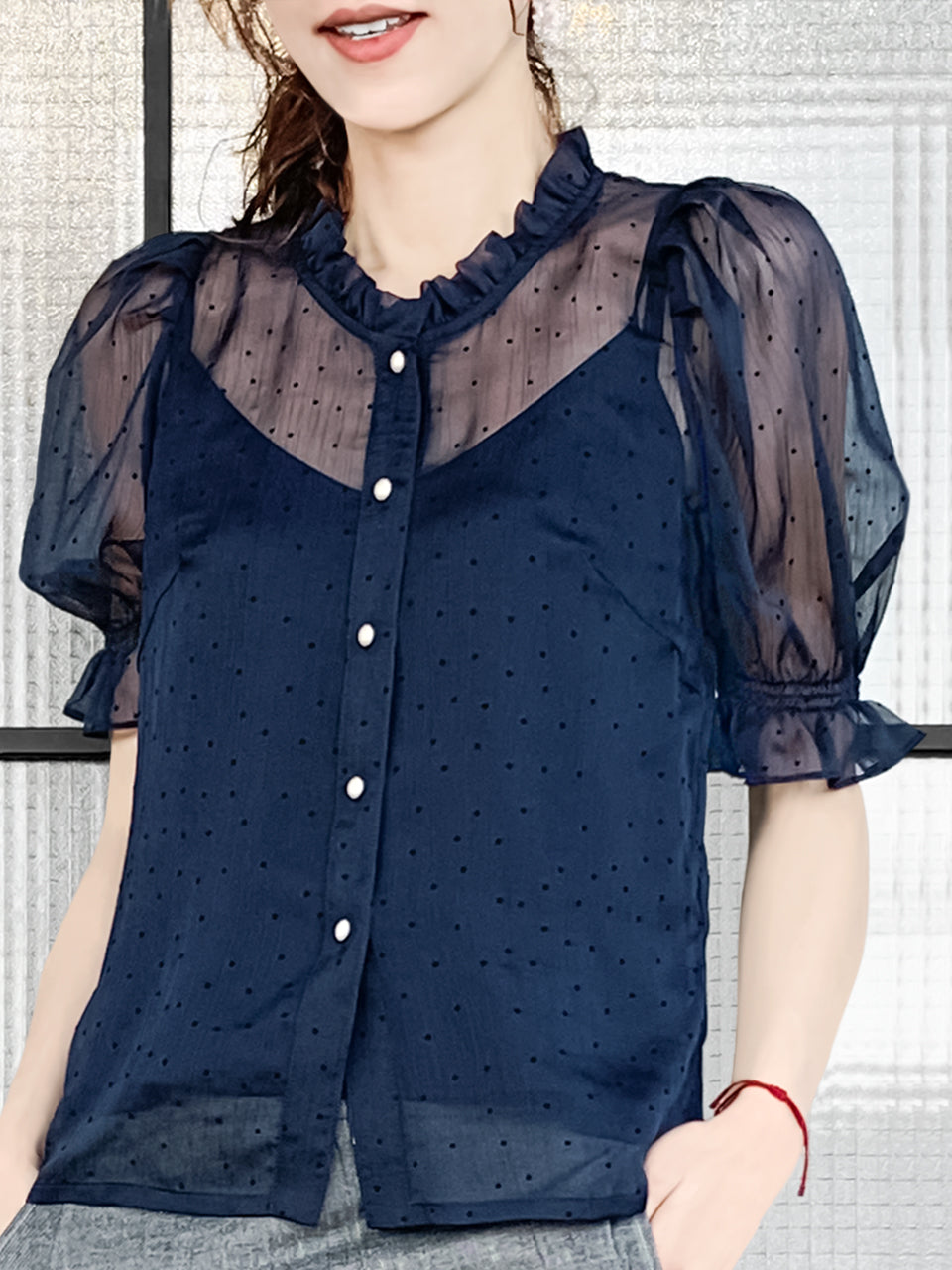 Classy Navy Ruffle Trim Puff Sleeve Clip Dots Top