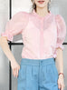 Sweet Pink Ruffle Trim Puff Sleeve Silver Stripe Top