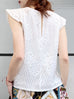 White Lace Flutter Sleeveless Cotton Blend Blouse
