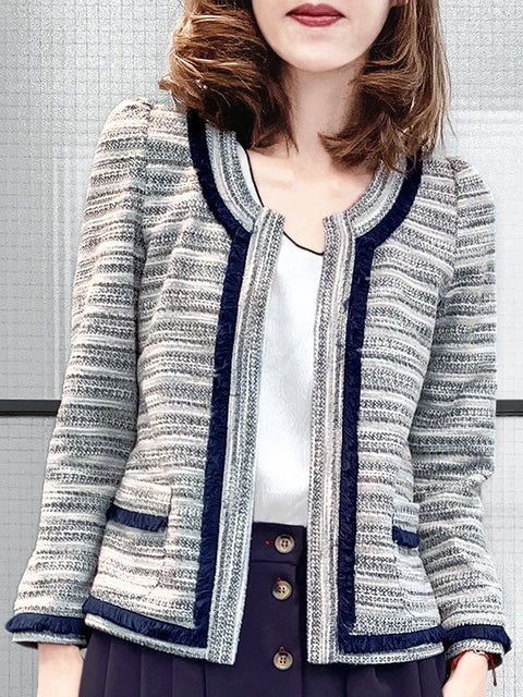 Navy Fringe Trim Open Front Tweed-inspired Cardigan