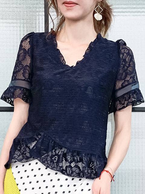 Navy Fanciful Floral Lace Ruffle Peplum Blouse