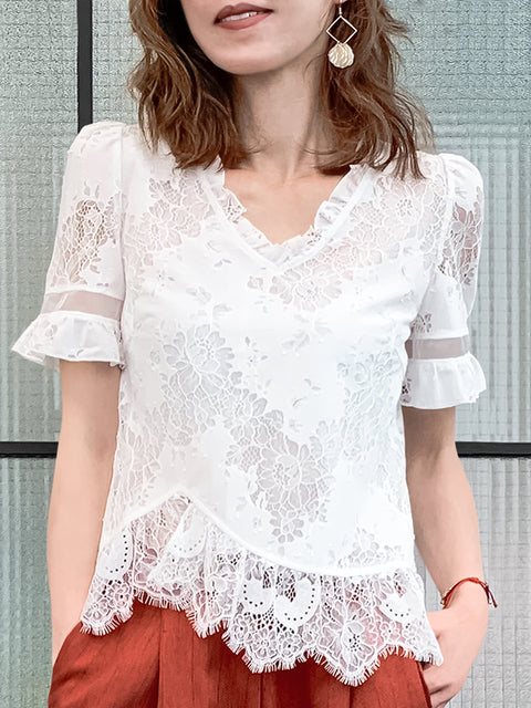 White Graceful Floral Lace Ruffle Peplum Blouse