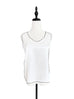 White Crinkled Satin Trim Edge Silk Tank