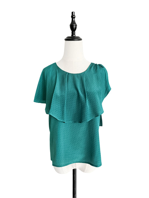 Last Chance! Patterned Green Asymmetrical Scarf Shoulder Silky Blouse
