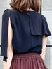 Dark Navy Asymmetrical Scarf Shoulder Silky Blouse