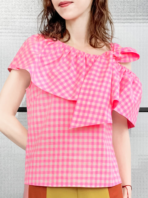 Pink Check Asymmetrical Stripe One-Shoulder Ruffled 2-way Top