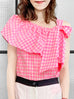 Surprise Sale! Pink Check Asymmetrical Stripe One-Shoulder Ruffled 2-way Top