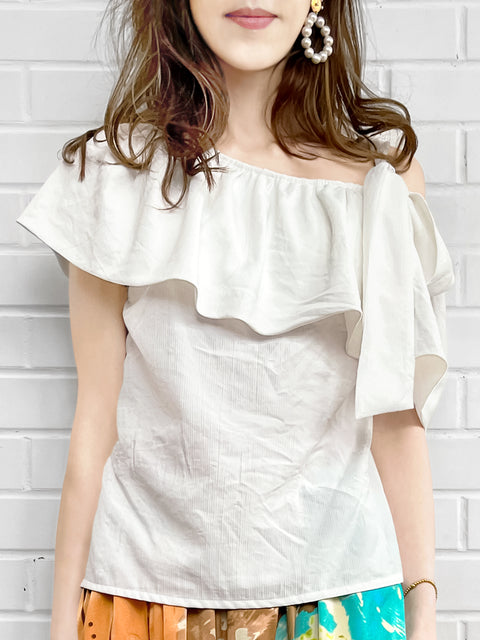 Surprise Sale! Crinkled Crepe Asymmetrical Stripe One-Shoulder Ruffled 2-way Top