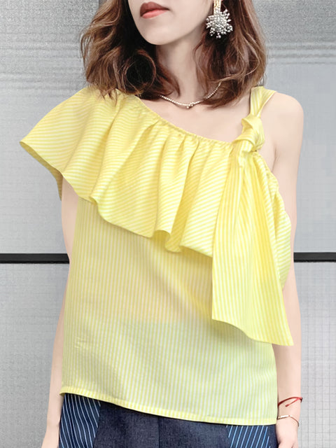 Last Chance! Yellow Asymmetrical Stripe One-Shoulder Ruffled 2-way Top