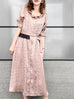 Last Chance! Dusty Pink Dotted Ruffle Waist Button Front 3-WAY Midi Dress